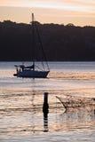 小海湾男子气概的日落游艇 免版税图库摄影