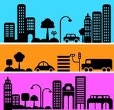 都市街道场面的向量例证 免版税库存照片