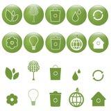 生态图标被设置的向量 免版税库存图片