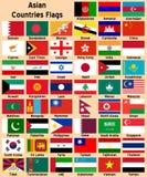 флаги азиатских стран Стоковая Фотография