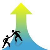 箭头获得现有量帮助帮助的人员  免版税库存图片