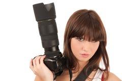 新照相机的妇女 免版税图库摄影