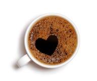 μορφή καρδιών αφρού καφέ Στοκ Εικόνες