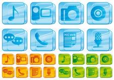 玻璃图标媒体 免版税库存照片