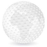 球高尔夫球映射世界 免版税库存照片