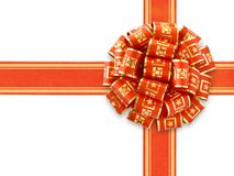 在红色丝带白色的礼品 库存照片