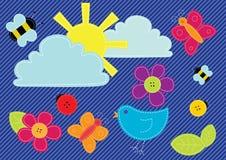 застегивает зашитый элементами вектор весны Стоковые Изображения RF