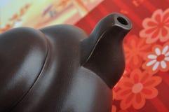 中国详细资料口部瓦器茶 免版税图库摄影