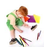 图画孩子顶视图 库存图片