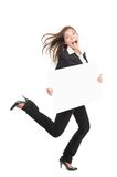 女实业家繁忙的连续符号妇女 免版税库存照片