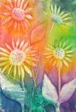 原始绘画向日葵水彩 免版税库存照片