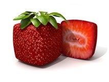 立方体部分草莓 免版税库存图片
