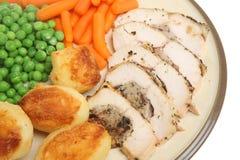 乳房鸡被充塞的正餐烘烤 免版税库存图片