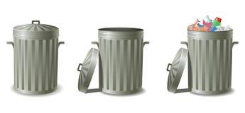 装垃圾于罐中 免版税库存照片