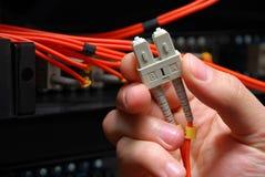 电缆数据纤维手持式高光学速度 库存照片