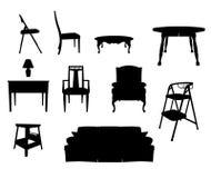 силуэты мебели Стоковые Изображения RF