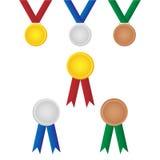 τα μετάλλια που τίθενται  Στοκ Εικόνες