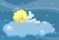 逗人喜爱天使的男孩休眠的一点 免版税图库摄影