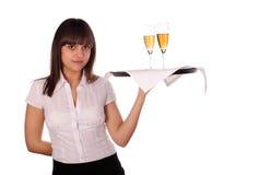 女服务员年轻人 免版税库存照片