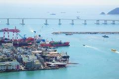 空中亚洲货物港口视图 图库摄影