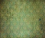 绿色老墙纸 免版税库存照片