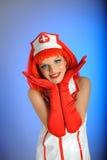 头发护士红色性感的年轻人 免版税库存照片图片