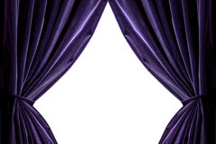 紫罗兰色的窗帘 免版税库存照片