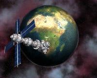 γη που βάζει δορυφορικό & Στοκ εικόνα με δικαίωμα ελεύθερης χρήσης