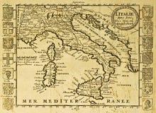 карта Италии старая Стоковые Фотографии RF