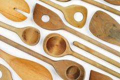 木背景的匙子 免版税库存图片