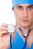 接近的医生纵向听诊器 免版税图库摄影