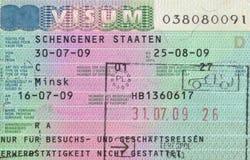 申根签证 免版税库存照片