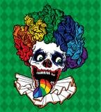 小丑彩虹头骨向量 免版税库存照片