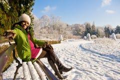 庭院怀孕的冬天 免版税库存照片