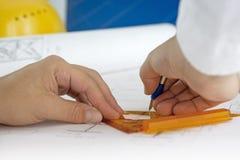 建筑师图纸画 免版税图库摄影