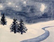 横向杉木雪结构树冬天 库存照片