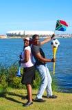 非洲杯子扇动足球世界 库存照片