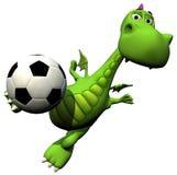 婴孩龙飞行足球运动员题头球员足球 免版税图库摄影