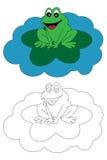 书着色青蛙开玩笑页 免版税库存图片