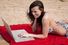 比基尼泳装膝上型计算机 免版税库存图片