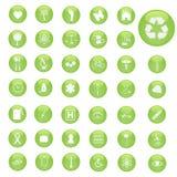 зеленые иконы Стоковые Изображения