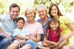 Εκτεταμένο πορτρέτο ομάδας της οικογένειας που απολαμβάνει την ημέρα Στοκ φωτογραφία με δικαίωμα ελεύθερης χρήσης
