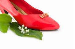 方式红色鞋子 免版税库存图片