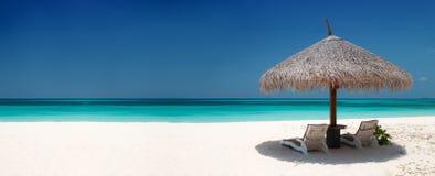 海滩睡椅伞 库存图片
