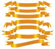 вектор золота знамени установленный Стоковые Фото