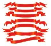 вектор красного цвета знамени установленный Стоковая Фотография