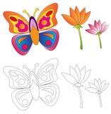 书蝴蝶着色花 库存图片