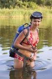 женщина скуба водолаза Стоковые Изображения RF