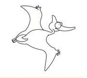 черная белизна летания динозавра Стоковые Изображения