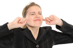 覆盖物耳朵手指他的其妇女 免版税库存照片